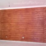 Parede de garagem - pintura imitação de madeira